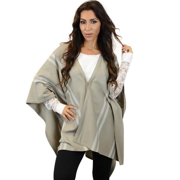 Ohconcept Collection Striped Poncho Brown