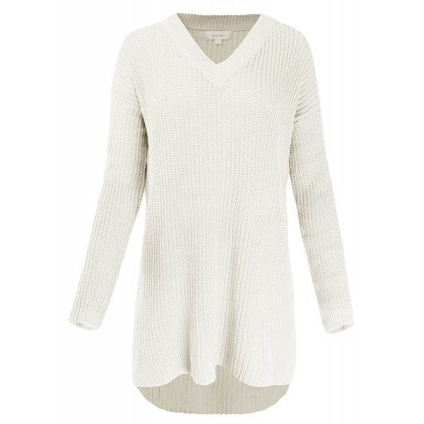 Sleeve V Neck Hi Lo Knitted Sweater