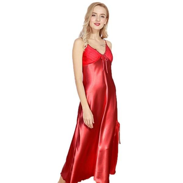 d759e24667f9a ... Women s Pajamas Satin Nightgown Long Sleeveless Sleepwear Slip Night  Dress - Red - C3189T50WD4. Dicesnow Pajamas Nightgown Sleeveless Sleepwear