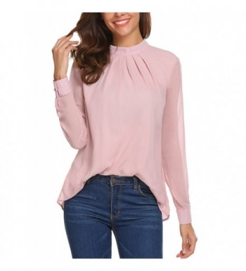 Chiffon Tops Womens Casual Long Cuffed Sleeve Solid Color Blouse Shirts -  Pink - CO187RD3NQ9