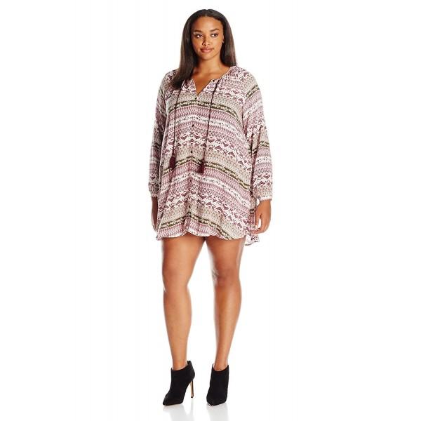Women\'s Plus Size Printed Peasant Dress - Harvest Grape/Burnt Olive -  C112JJG53HR