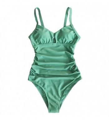 0af8f5ce94266 Fashion Women's Green Grass Solid One-Piece Swimsuit Beach Swimwear ...