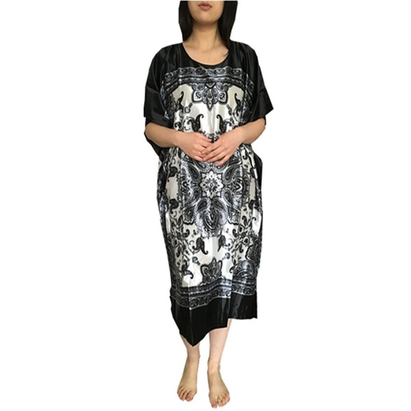 d87d7bc68cb82 Women's Long Nightgowns Batwing Printed Satin Sleepwear Silk Lounge ...