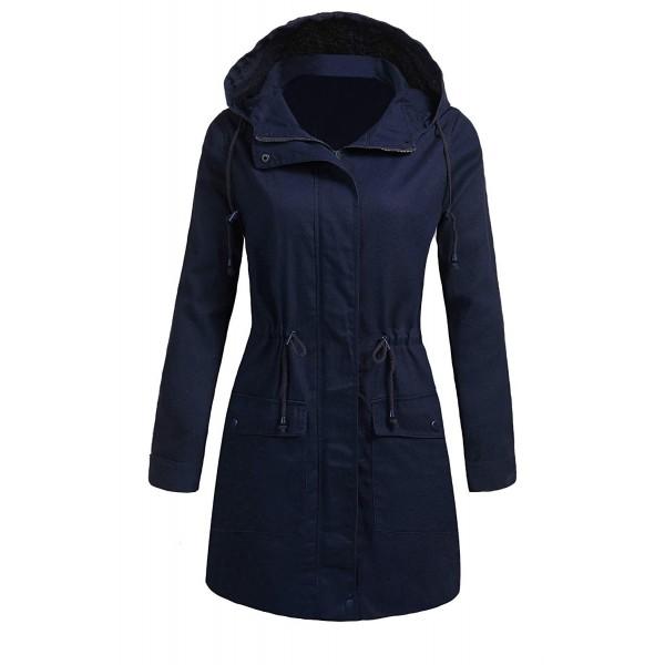 47c6c6aa873 Women s Long Sleeve Drwastring Waist Hooded Parka Jacket Army Anorak ...