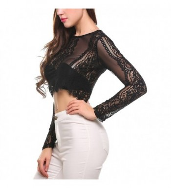 72381c8bc7 Women's Fashion Slim Fit Lace Long Sleeve Sexy Sheer Blouse Mesh ...