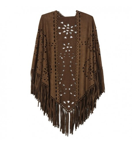 Choies Womens Coffee Suedette Fringed