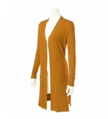 Women's Solid Soft Stretch Longline Long Sleeve Open Front