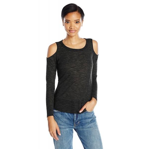 fe3a035a484 Women's Melange Cold Shoulder Top - Black - CR12N7CUAR2
