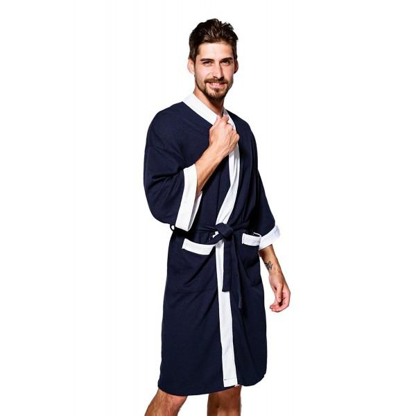 Jearey Bathrobe Lightweight Sleepwear Navy White