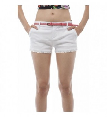 Crochet Lace Shorts Contrast Comes With Thin Belt White Cy11wfxapx3