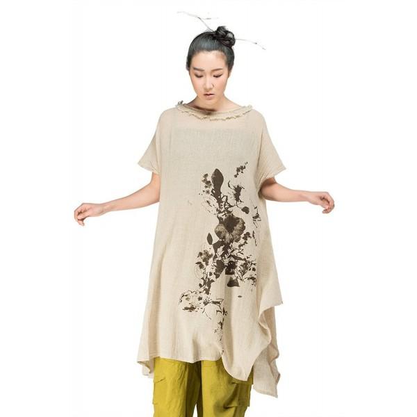 Jiqiuguer Womens Vintage Irregular Cotton