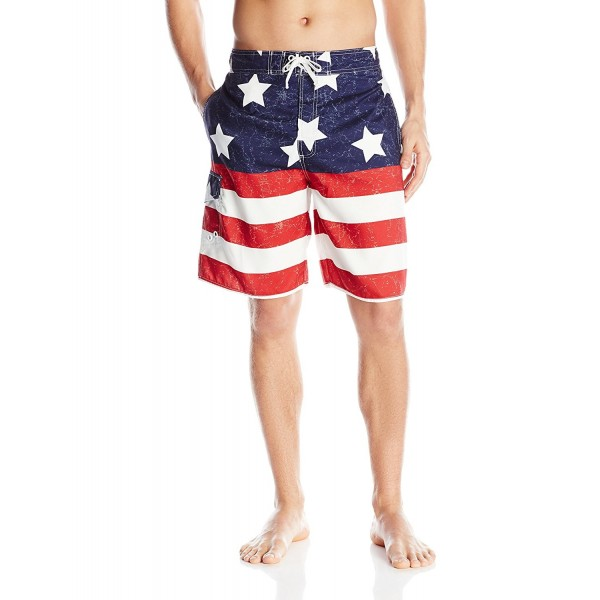 e6d51d7e18 Men's American Flag Swim Trunks - Red/White/Blue - CS12C4BIJON