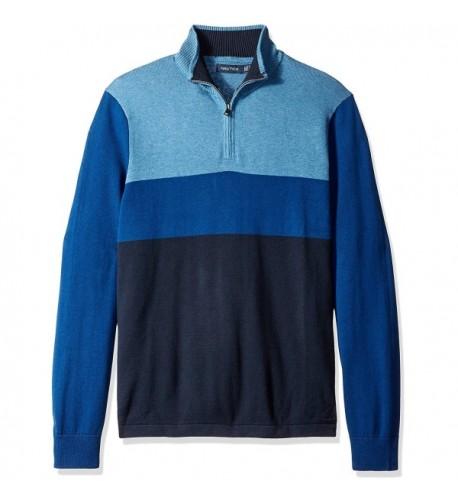 Nautica Color Block Quarter Zip Sweater