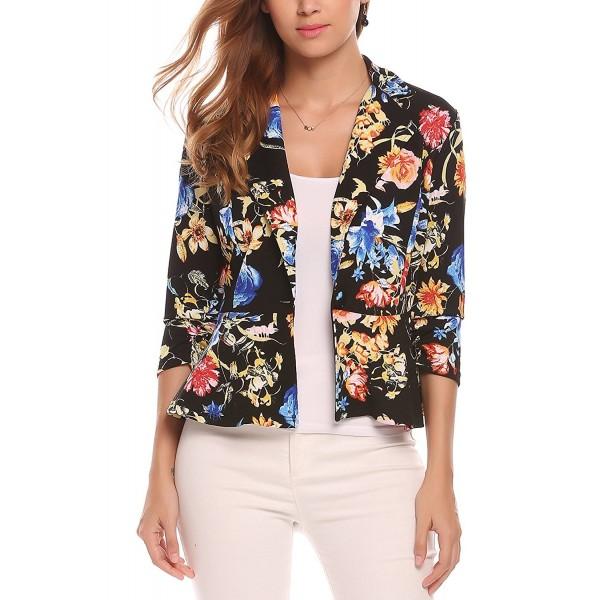 7ac93e1669 Women Notch Lapel 3 4 Sleeve Casual Work Open Front Cardigan Jacket ...