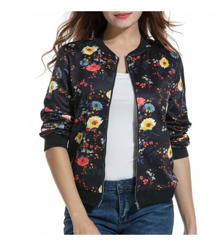 ACEVOG Floral Bomber Jacket Outwear