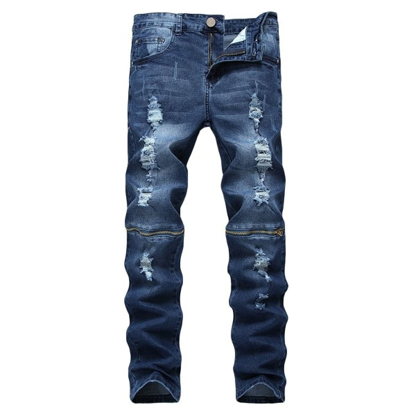Pishon Straight Zippered Stretch Distressed