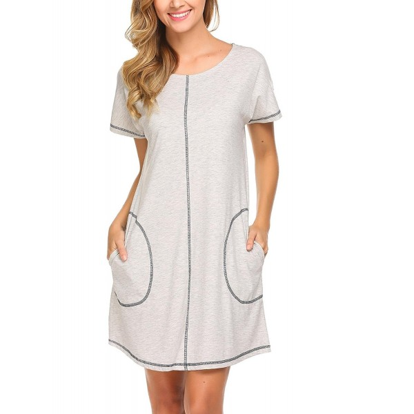 Women O-Neck Short Sleeve Zipper Nighties Sleepwear Robe Nightgown S ... 54686ed3e