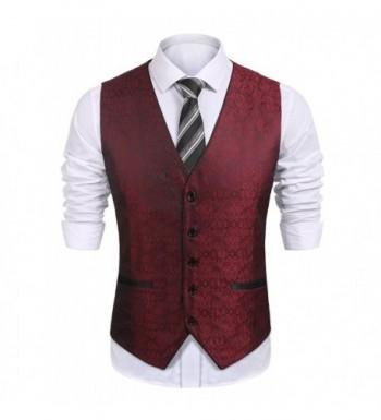 COOFANDY Paisley Embroidery Wedding Waistcoat