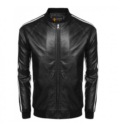 COOFANDY Leather Bomber Varsity Baseball