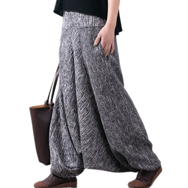 5d0b9ccd86134 P06 Women Casual Harem Pants Loose Baggy Pant Skirts 100% Linen ...