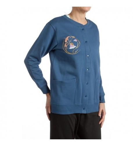 Pembrook Womens Fleece Cardigan Embroidery L Navy