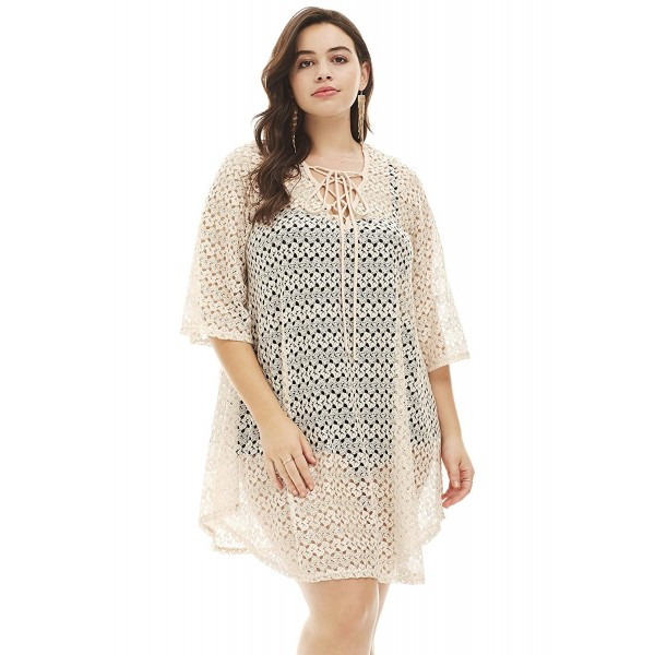 Womens Plus Size Lace Up Crochet Cover Up Ladies Swimwear