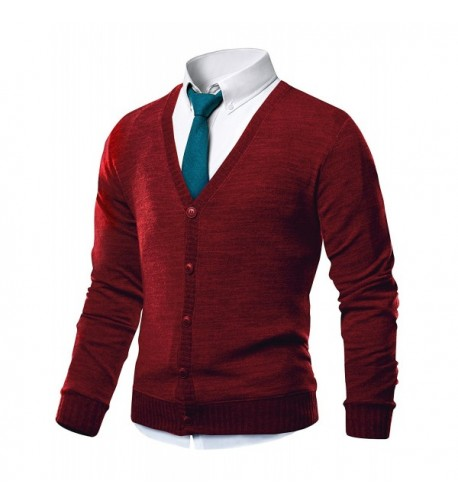 HARRISON83 V Neck Cardigan Sweater NS1088 RED L