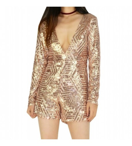 YSJ Sequins Bodycon Jumpsuits Champagne