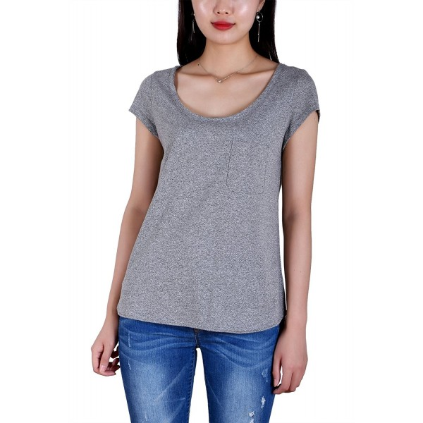 ebd6731c99406 Womens Cap Sleeve Relaxed Fit T-Shirt Gray Casual Tops Side Slit ...