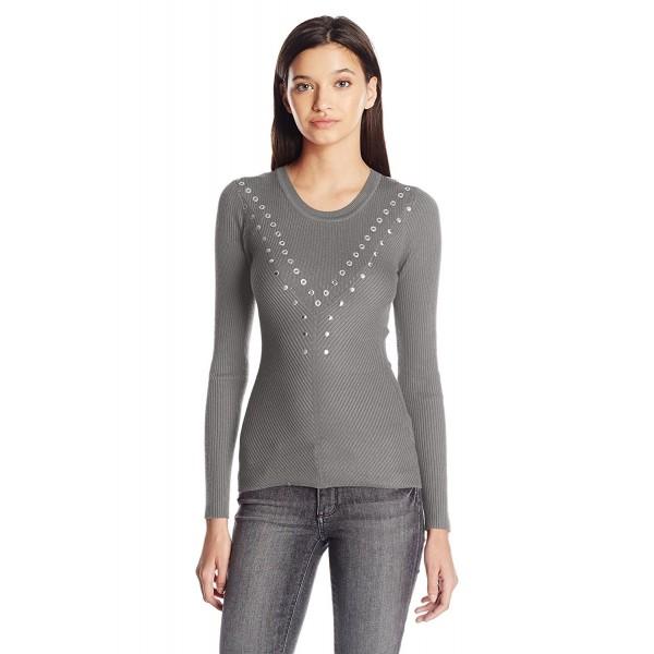 Juniors Rib Crew Neck Pullover Sweater Grommets Details Grey