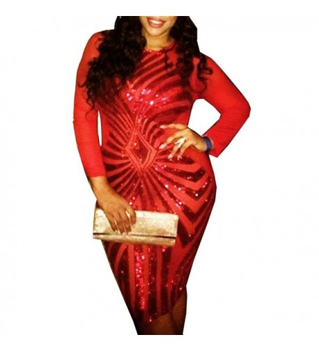 Bodycon Dress Sequin Geometric Pattern