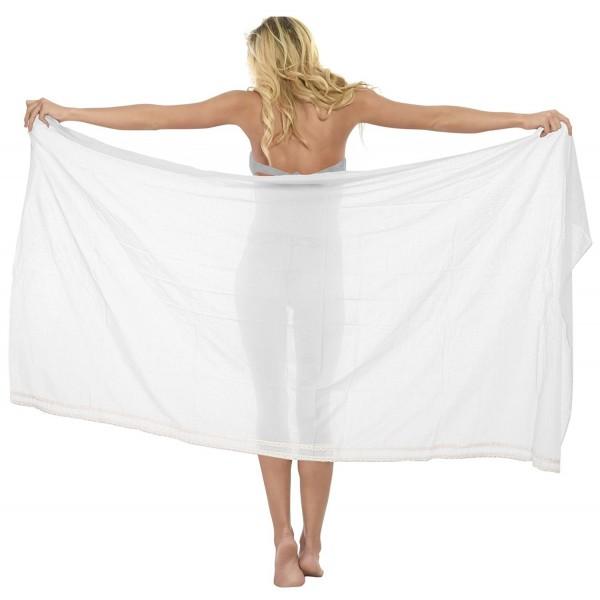 fae311fd43 ... Pareo Wrap Bikini Cover up Womens Rayon Swimsuit Swimwear - White With  Lace - C7126C6IEUZ. Leela Sarong Bathing Womens Swimwear