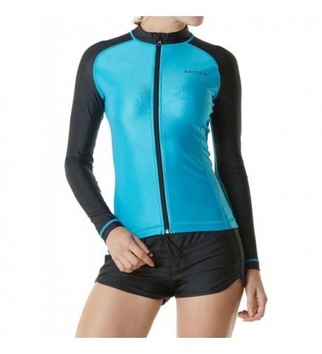 TM FSZ01 SBK_Medium Tesla Womens Rashguard Swimsuit