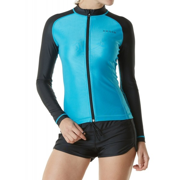 e6e0f2fdd4f ... Women s UPF 50+ Zip Front Long Sleeve Top Rashguard Swimsuit FSZ01 -  FSZ01-SBK - CY189Z6KEEX. TM FSZ01 SBK Medium Tesla Womens Rashguard Swimsuit