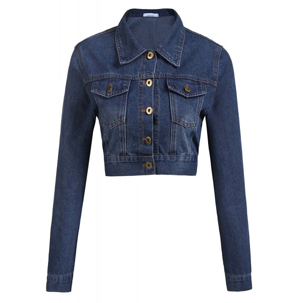 Grabsa Womens Button Cropped Pockets