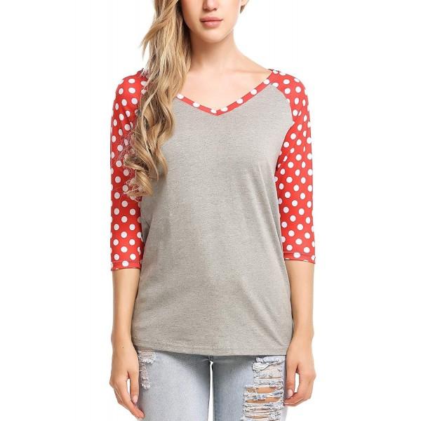 5f24700c6c19f9 Women's 3/4 Sleeve V Neck Top Floral Printed Raglan Shirt Blouses ...