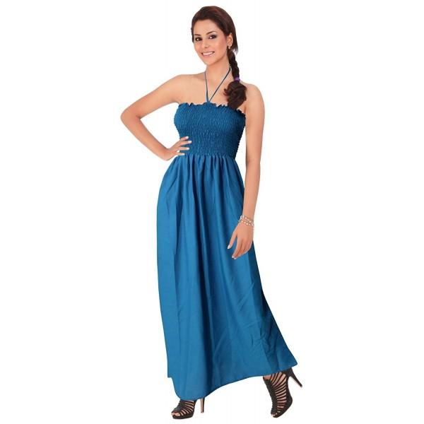 ... Tube Dress Maxi Skirt Beach Backless Sundress Halter Evening Casual  Swimsuit - Blue - CS11HAH58V3. Leela Womens Casual Office lightweight 4b0216d87