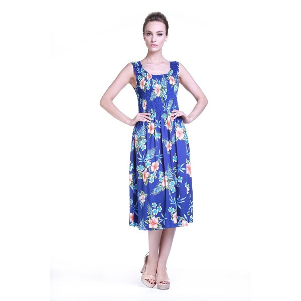 Womens Hawaiian Elastic Dress Hibiscus