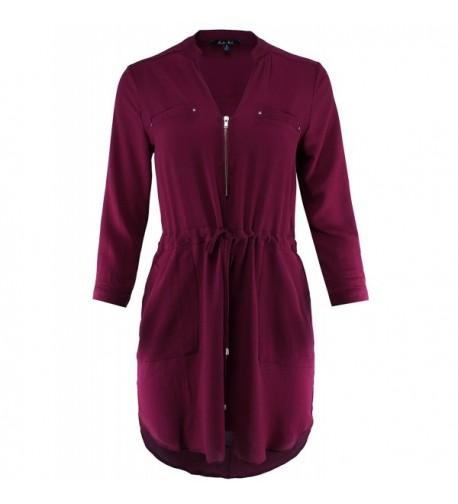 Ladies Code Sleeve Woven Burgundy