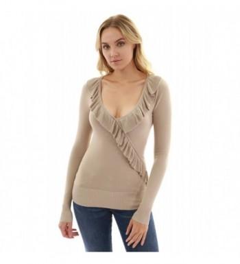 PattyBoutik Womens Ruffle Neck Sweater