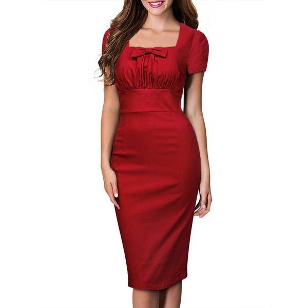 Women s Square Neck Elegant Office Work Evening Bodycon Pencil ... 5096785bd