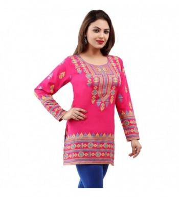 bcad953ac24 Indian Tunic Top Womens Kurti Printed Blouse India Clothing - Pink ...