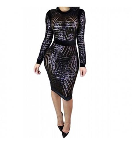 Women Sequin Sleeve Bodycon Clubwear
