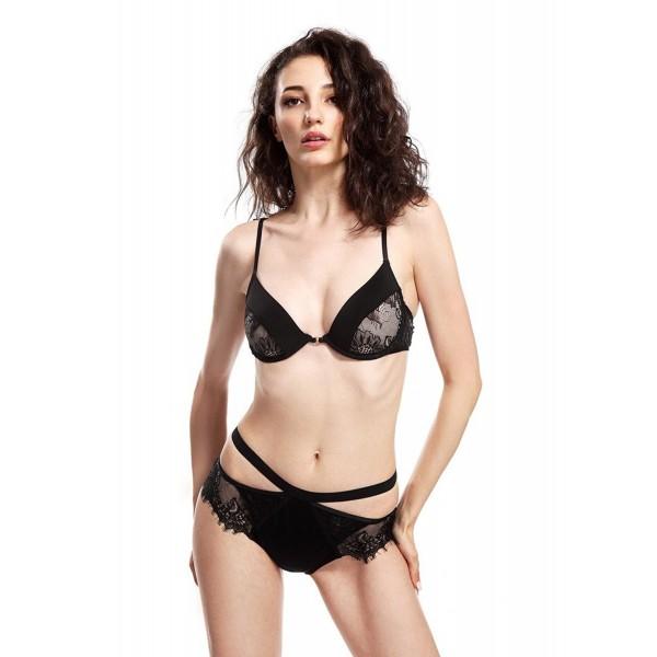 1eeebc5dcf11 Women Sexy Cut Out Bra High Waist Panties Cross Back Eyelash ...