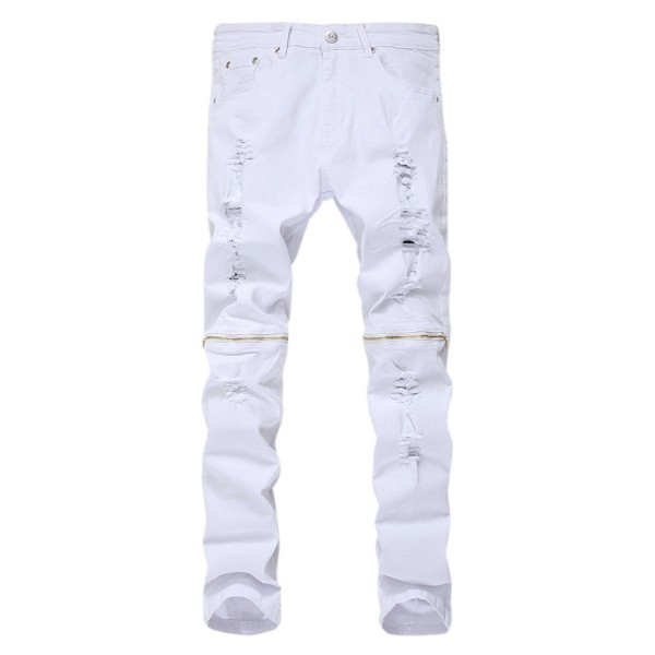 PrettyChic Distressed Zipper Stretch Tapered