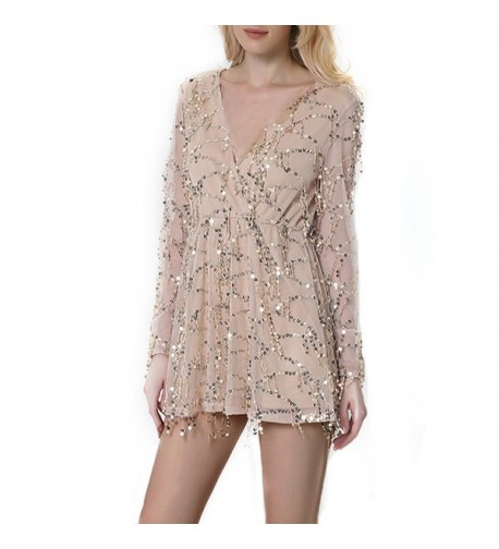 CHIC DIARY Sequin Playsuit Apricot