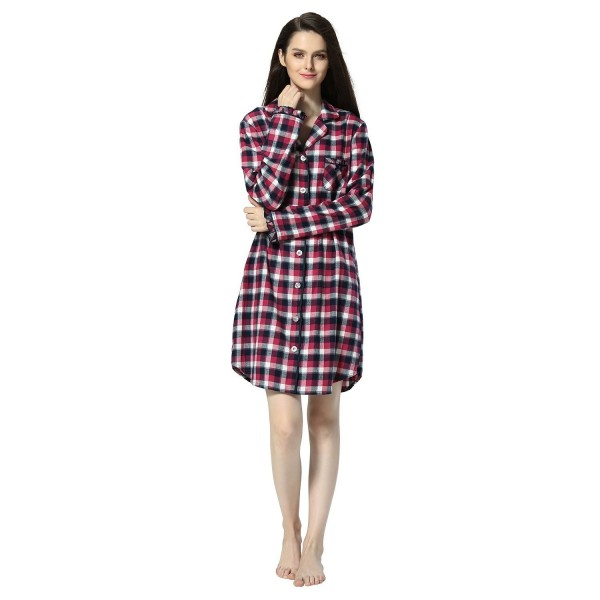 1d6c7415f36 Women s Plaid Flannel Shirt Dress Blouse Mid-Long Style Boyfriend ...