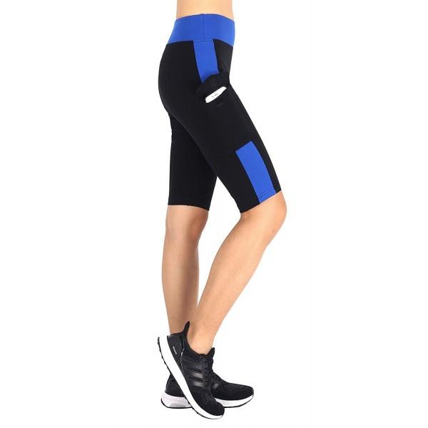 États Unis boutique pour officiel style à la mode Women Yoga Capri Short Legging Pants Workout Running Yoga Shorts -  Black/Blue - C918287DO77