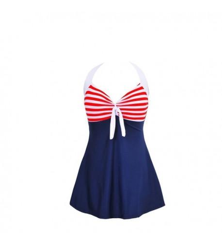 HOOYON Swimsuit Vintage Swimdress Stripes