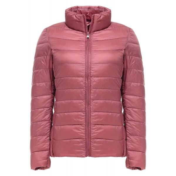 5d50e1562 Lightweight Down Jacket-Women's Short Packable Ultra Down Jacket - Pink -  C1187RC0ZSC